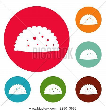 Pattie icons circle set vector isolated on white background