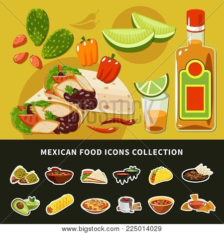 Mexican food icons collection including bean soup with chili, guacamole, dishes with nopal, tequila isolated vector illustration