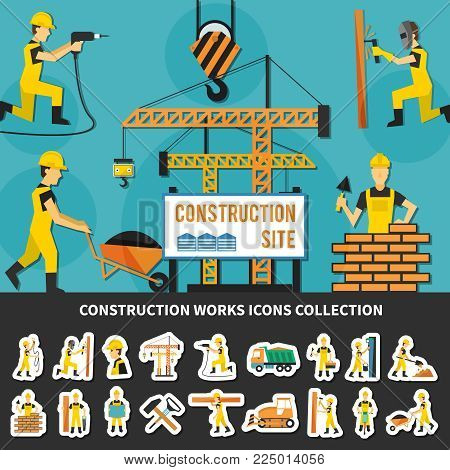 Colored construction worker flat concept with icon set combined in construction site composition vector illustration