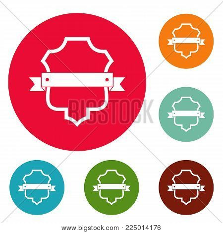Badge guardian icons circle set vector isolated on white background