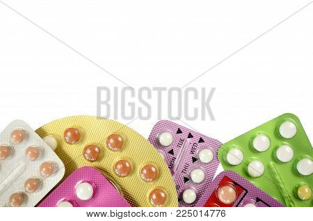 Oral Contraceptive Pill Strips Isolated On White Background.