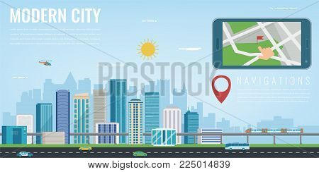 Smart city navigation. Smart phone with city location. Modern city background. Vector illustration