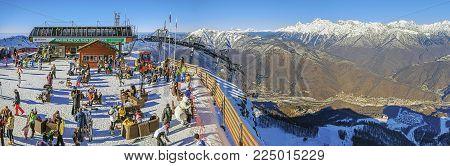 SOCHI, RUSSIA - December 19, 2015: Panorama of the ski resort of Gorki City.