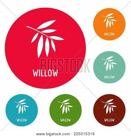 Willow leaf icons circle set vector isolated on white background