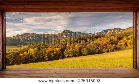 Panorama view in the Sulov rocks Nature Reserves at autumn, Slovakia, Europe.