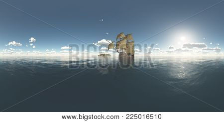 Spherical 360 degrees seamless panorama with island and Portuguese caravel of the fifteenth century