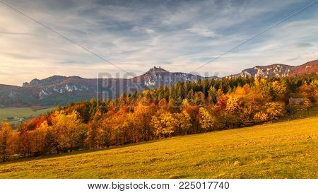 Panorama view at autumn landscape with rocks in Sulov, Slovakia, Europe.