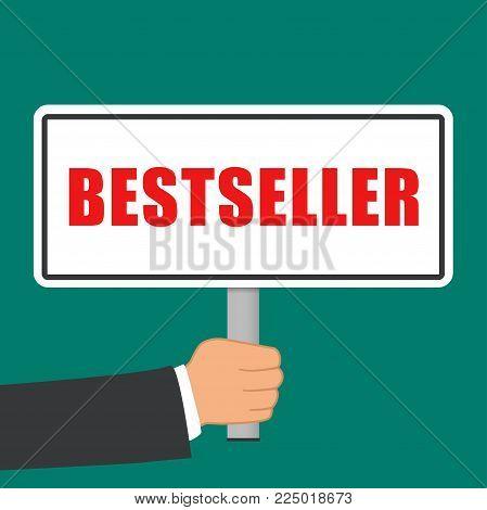 Illustration of bestseller word sign flat concept