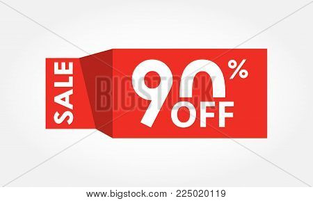 90% Off. Sale And Discount Tag With 90 Percent Price Off Icon. Vector Illustration.