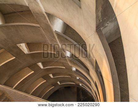Concrete Road Ramp Of Parking Car Garage