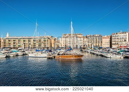 Marseille, France - December 4, 2016: Picturesque colorful yacht port in old center of Marseilles, France.