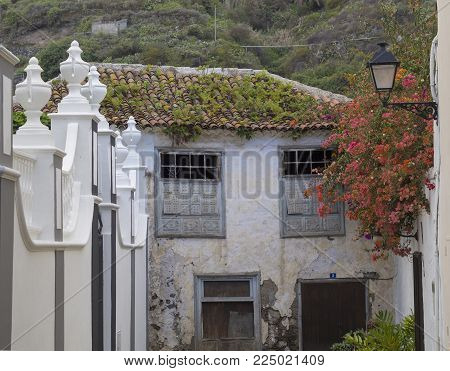 old abandoned fading aged house in colonial style with roof covered by grass and plant, quiet place with orange flowers,street lamp and white portal gate