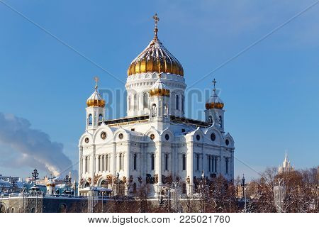 Moscow, Russia - February 01, 2018: Cathedral of Christ the Saviour on the blue sky background. Moscow in winter