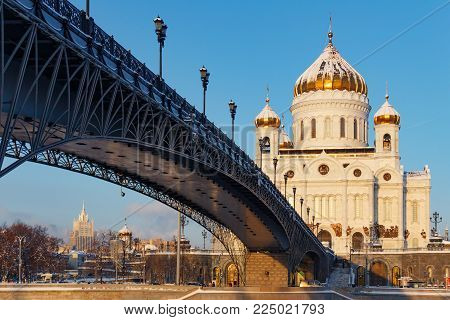 Moscow, Russia - February 01, 2018: Cathedral of Christ the Saviour on Patriarshiy Bridge background at sunny winter morning