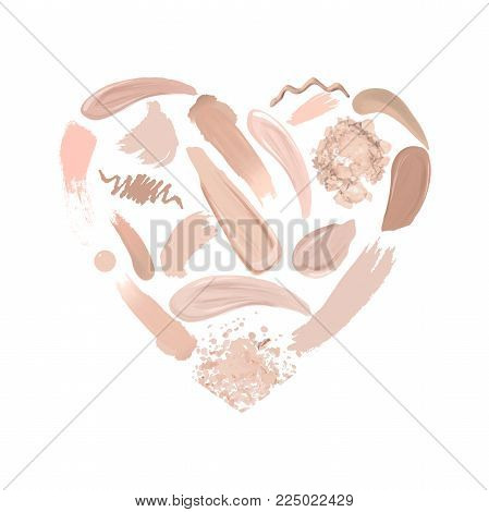 Heart of Makeup set: strokes and smears, lipstick, lip liner, foundation, drops nail polish, loose powder. Cosmetics. Beauty and Fashion Illustration. Vector Illustration.