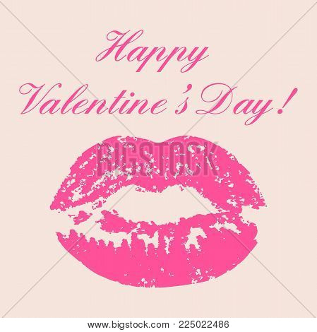 Happy Valentine's Day Calligraphy Lettering Poster And Pink Kiss Print On Light Beige Background. De