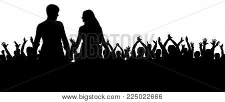 Cheerful crowd silhouette. Party people, applaud. Fans dance concert, disco.Young couple at a party