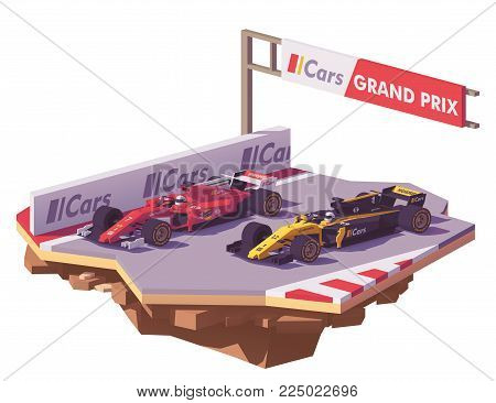 Vector low poly formula racing car in red livery overtaking yellow and black race car