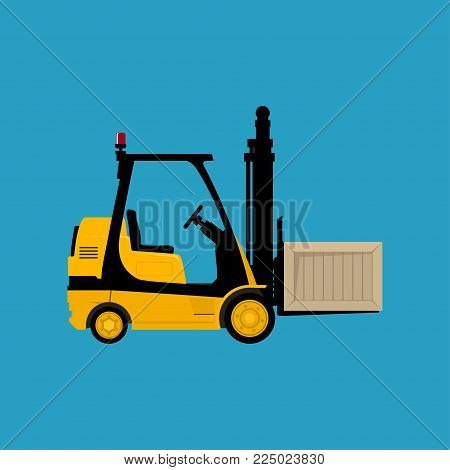 Yellow Forklift Truck Isolated on a Blue Background, Vehicle Forklift with a Box,  Illustration
