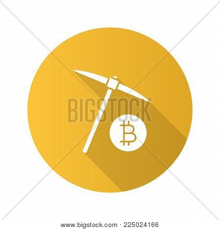 Navvy pick with bitcoin sign flat design long shadow glyph icon. Cryptocurrency mining Vector silhouette illustration