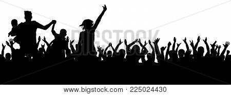 Party crowd vector, cheerful silhouette, cheers sport