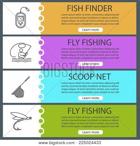 Fishing web banner templates set. Fly fishing, echo sounder, landing net, insect lure. Website menu items. Vector headers design concepts