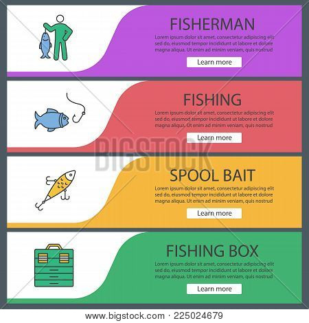 Fishing web banner templates set. Fisherman, lure, fish and hook, tackle box. Website color menu items. Vector headers design concepts