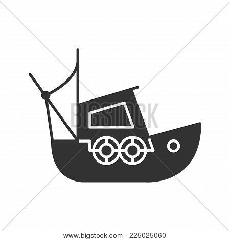 Fisher boat glyph icon. Coble. Yacht. Silhouette symbol. Negative space. Vector isolated illustration