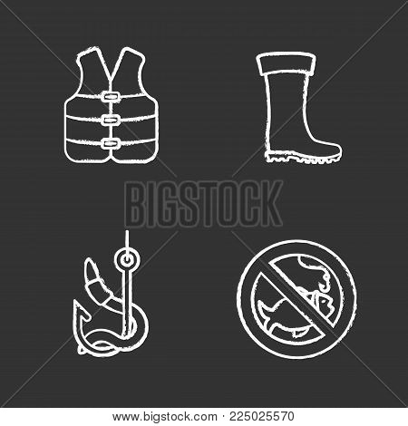 Fishing chalk icons set. Life jacket, bait, rubber boot, no fishing sign. Isolated vector chalkboard illustrations