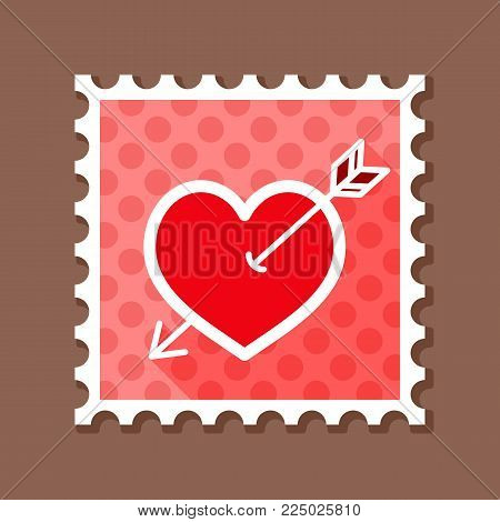 Heart stamp, Love symbol Valentine Day. Vector illustration, romance elements. Sticker, patch, badge, card for marriage, wedding