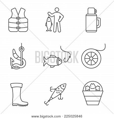 Fishing linear icons set. Fisherman, catch, bait, fishhook, rubber boot, lure, life jacket, thermos, fishing line, bucket with catch. Thin line contour symbols. Isolated vector outline illustrations
