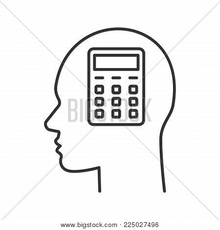 Human head with calculator inside linear icon. Counting service. Accountant. Thin line illustration. Contour symbol. Vector isolated outline drawing