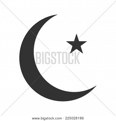 Star and crescent moon glyph icon. Ottoman flag. Ramadan moon. Silhouette symbol. Negative space. Vector isolated illustration
