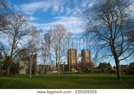 Elgin parkland and skyline with cathedral ruins visible, Scotland