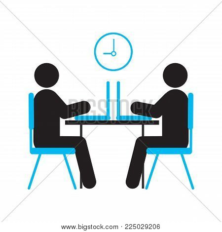 Two people working with laptops silhouette icon. Coworking zone. Office job. Computer club. Isolated vector illustration
