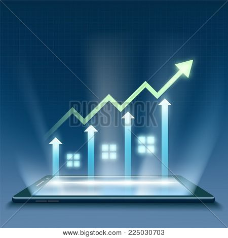 Sales And Insurance Of Real Estate. Growth Of Financial Chart On The Smartphone Screen. Stock Vector