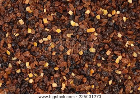 raisins currants and sultanas with candied peel background