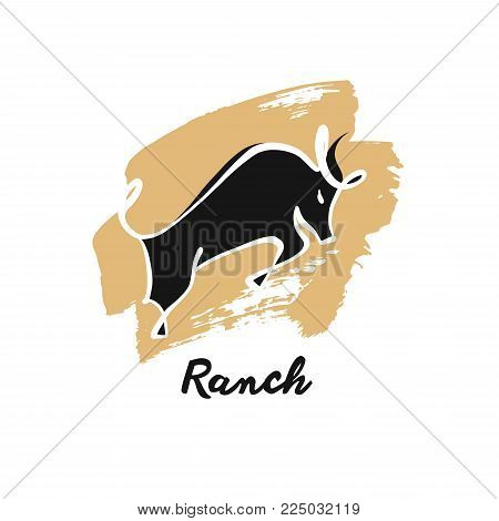 Template logo with image black bull. Ranch.  Sketch illustration.