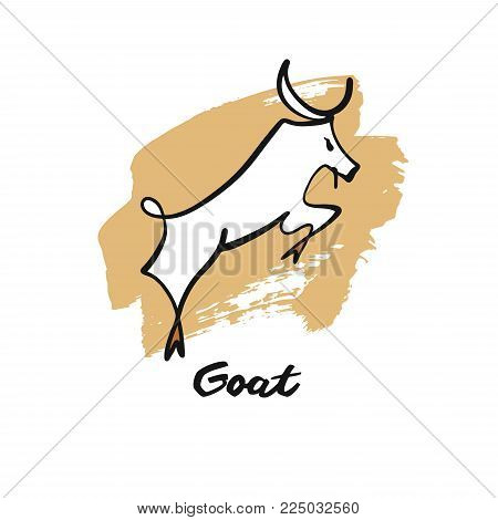 Sketch black line vector illustration jumping goat. Template logo, logotype on white background.