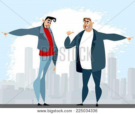 Vector illustration of a dispute between two men
