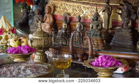 Sacrifice oblation, traditional offerings for Gods in Buddhist temple, Bali. Sacrifice, oblation , belief , sacrifice offerings and gifts to god of Thailand culture