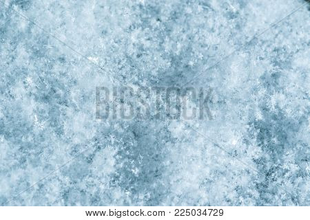 Macro Image Of Snowflakes. Winter Background. Small Depth Of Field