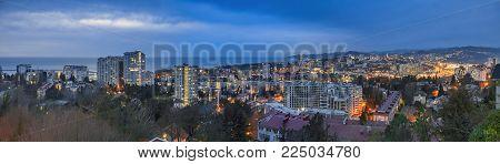 SOCHI, RUSSIA - FEBRUARY 2, 2018: Evening lights in Sochi.