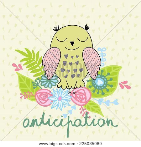 vector illustration of a cartoon happy owl. Anticipation.
