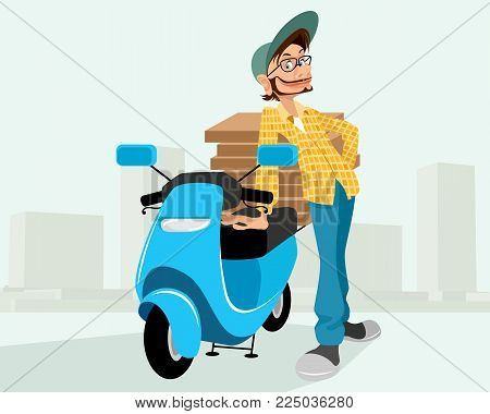 Vector illustration of a courier delivering the pizzas