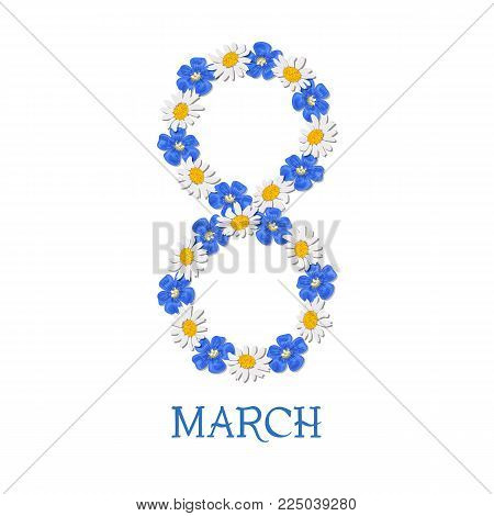 Postcard to March 8, Congratulations to the Women's Day. Daisy and forget-me-not, flax, chamomile wildflowers. For newsletter, brochures, postcards, advertising, banners invitation, greeting