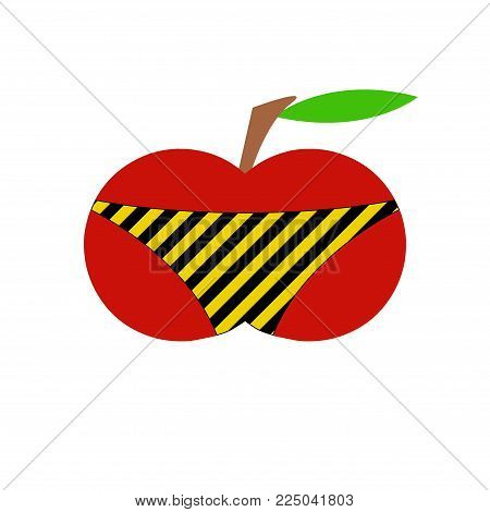 Appetizing apple in shorts. Abstract erotic. Branch and leaves. Isolated against white background.