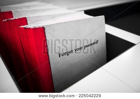 Forgot your password. White book with red binding and phrase Forgot Your Password on the cover. Technology concept. Selective color