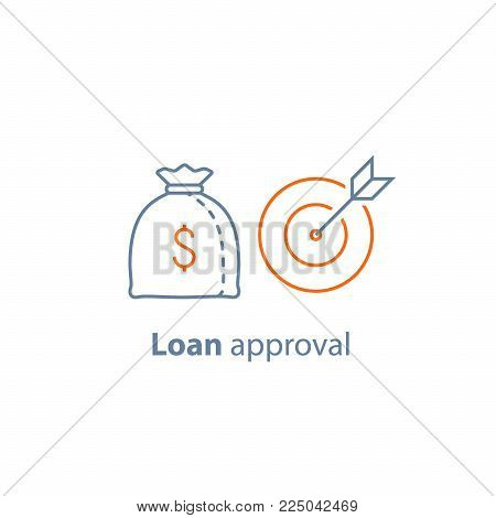 Fund management, long term investment, financial strategy, finance solution, loan approval, pension savings, win big prize, money bag, business targeting, vector line icon thin stroke