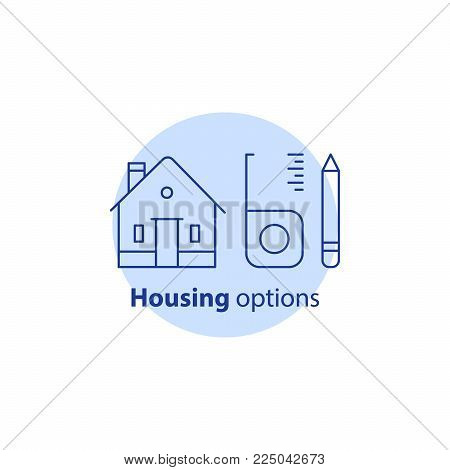 House renovation and modernization, home improvement, real estate estimation concept, housing options, property preferences, living solution, vector line icon